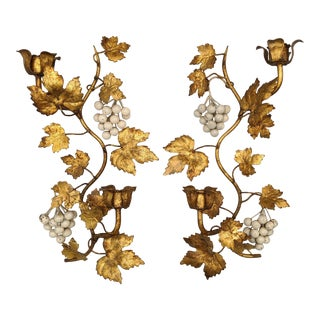 Mid-Century Italian Gold Gilt Grape and Leaf Wall Sconce Candle Holders - a Pair For Sale