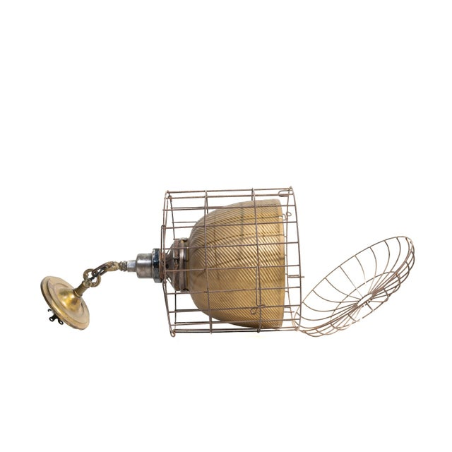 Industrial 1920s Industrial Gold Mercury Glass Caged Ceiling Pendant Lamp For Sale - Image 3 of 8