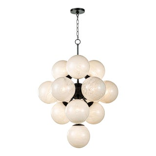 La Dame Chandelier in Swirl Glass Oil Rubbed Bronze For Sale