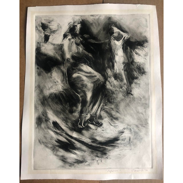 Aquatint 1970s Abstracted Figure Aquatint For Sale - Image 7 of 7