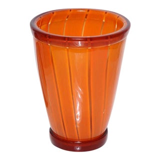 Early 20th Century Seguso Viro Vibrant Orange Vase