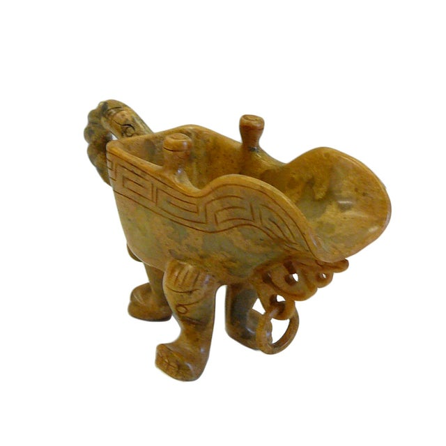 Chinese Oriental Stone Carved Tri-Leg Cup - Image 2 of 6