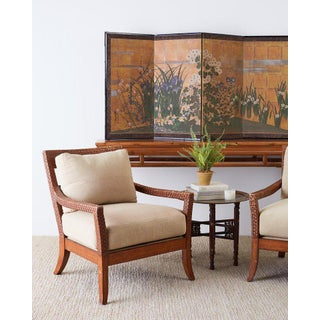 Pair of Billy Baldwin Style Rattan Wrapped Lounge Chairs Preview
