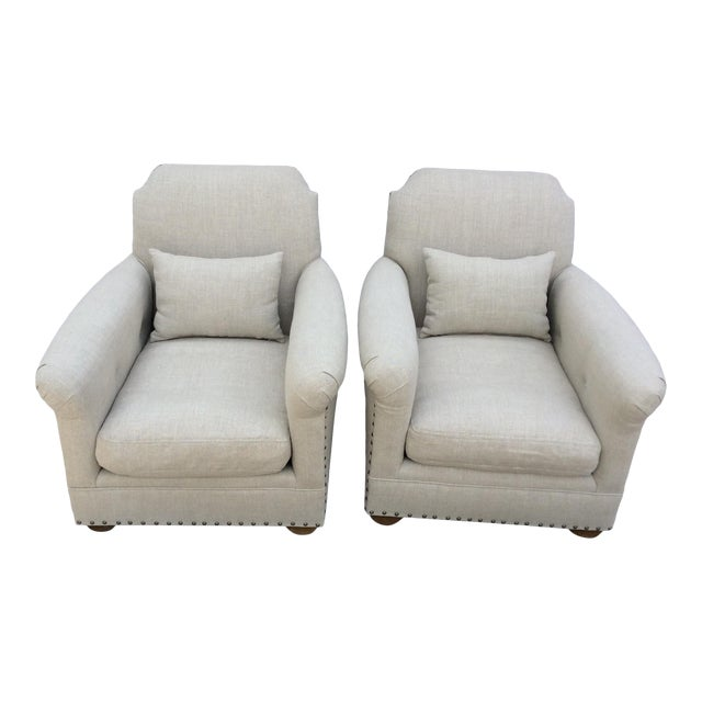Restoration Hardware Club Chairs - a Pair For Sale