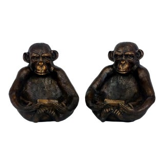 Bronze Monkey Bowls - a Pair For Sale