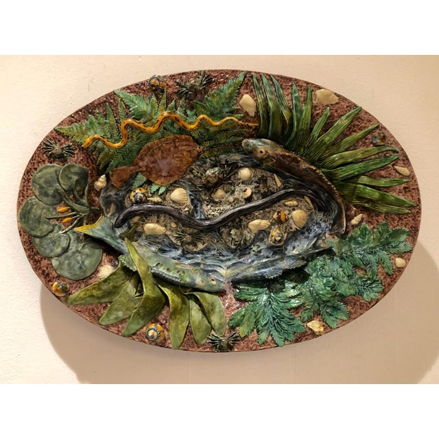 Folk Art Large Palissy Platter, France Circa 1880 For Sale - Image 3 of 9