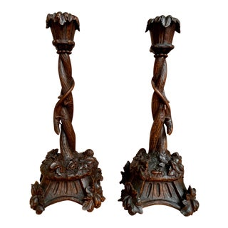 Antique Black Forest Carved Wood Lizard Insects Candlesticks Candle Holders - a Pair For Sale
