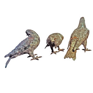 1950's Japanese Cast Iron Pigeons in Motion Pose - Set of 3 For Sale