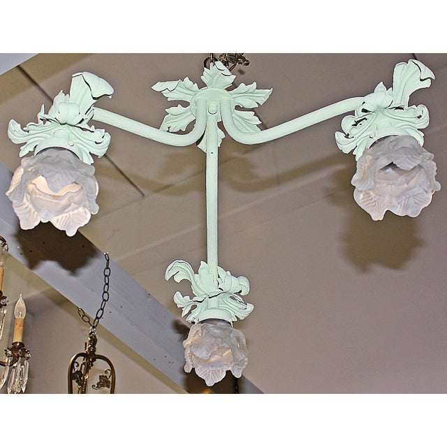 1920s Painted French Wrought Iron Chandelier For Sale - Image 4 of 7