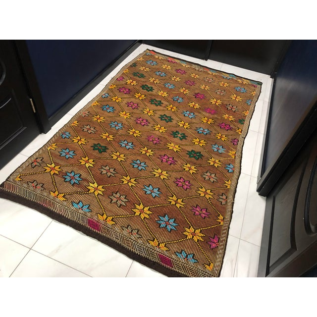 Islamic 1960s Vintage Turkish Handwoven Traditional Decorative Kilim Rug- 5′3″ × 8′6″ For Sale - Image 3 of 11