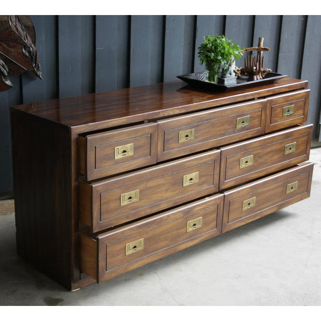 Americana Campaign Style 7-Drawer Dresser For Sale - Image 3 of 11