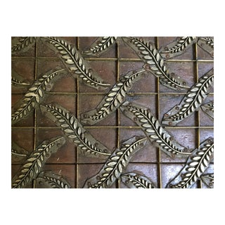Antique Hand Carved Wood & Metal Wallpaper Stamp Stencil Black Press Circa 1800s For Sale