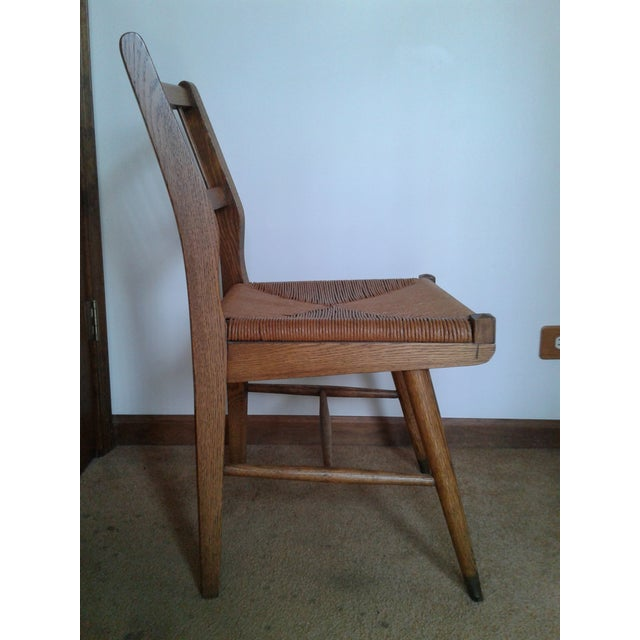 Danish Modern Mid-Century Modern Rush and Hardwood Side Chair For Sale - Image 3 of 12