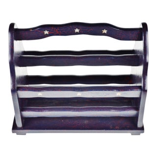 Vintage Hand Painted Purple Wood Magazine Rack For Sale