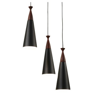 Cascade Lamp With Three Black Metal And Teak Hoods. Denmark, 1960s For Sale