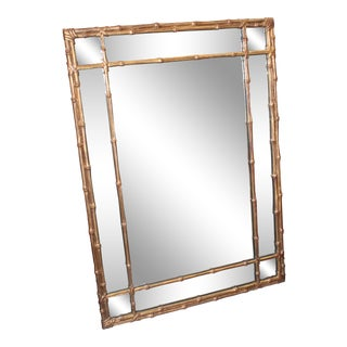 Gilt Finish Faux Bamboo Mirror For Sale