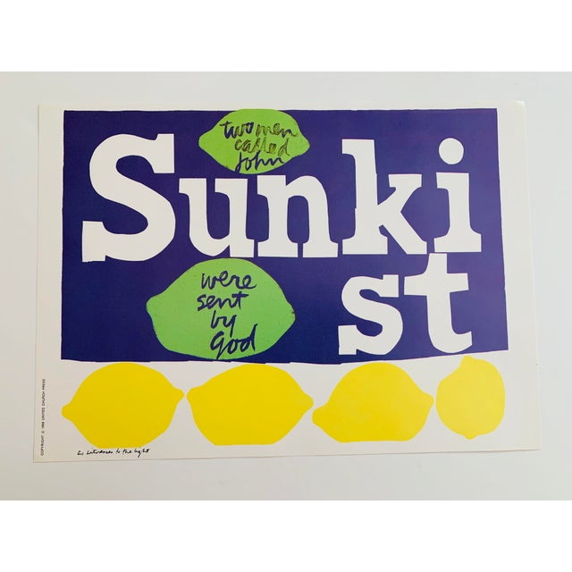 1960s Vintage Sister Mary Corita Kent as Witnesses to the Light Sunkist Lemon Print For Sale - Image 9 of 9