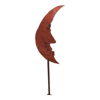 Hand Made Folk Art Weathervane Style CopperJack-O-Moon on Copper Stake For Sale