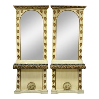 Large Pair Italian Hollywood Regency Shell & Marble Console Hall Table & Mirror For Sale