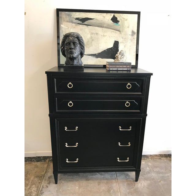 "Georgian style gentleman's 5 drawer high boy dresser made by ""Furniture by Unagusta"" (marking inside drawer). Original..."