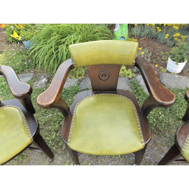 Wood and Avocado Vinyl Mid-Century Arm Chairs - Set of 3 For Sale - Image 4 of 13