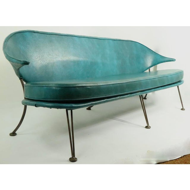 Mid Century Wrought Iron and Vinyl Sofa Settee Loveseat For Sale - Image 11 of 11