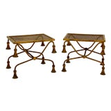 Image of Pair of Hollywood Regency Style Italian Gilt Metal Tassel Benches / Side Tables For Sale