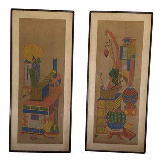 Asian Vintage Panels Chaekkori Scholar - a Pair For Sale