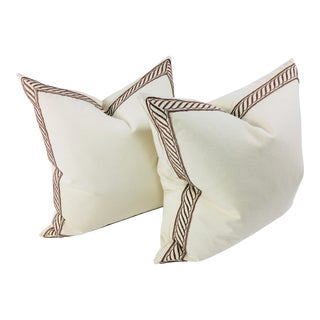 Banded Canvas Pillows – a Pair