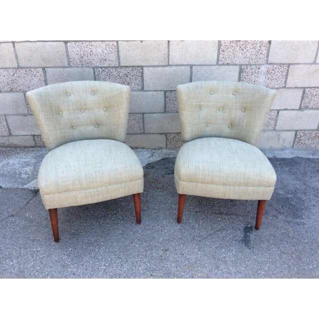 Wood Mid-Century Slipper Chairs- A Pair For Sale - Image 7 of 7