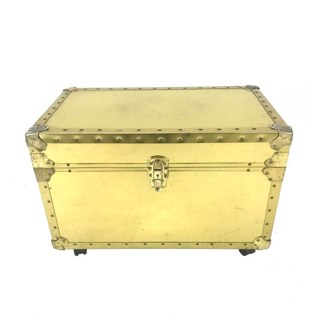 Vintage Riveted Brass Trunk - Image 8 of 8