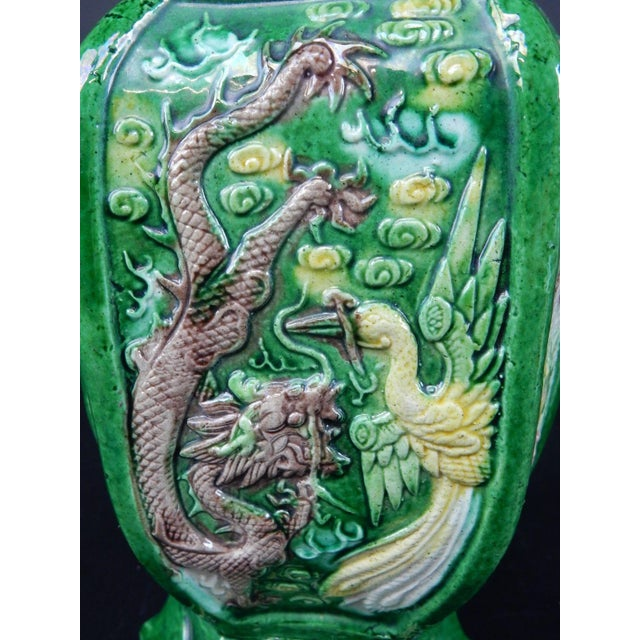Antique Green & Yellow Glazed Chinese Vase For Sale - Image 10 of 11