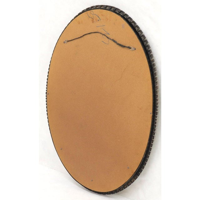 Brown Scalloped Edge Oval Mid-Century Modern Mirror For Sale - Image 8 of 9