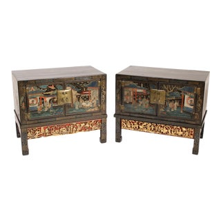 Pair of Chinese Cabinets on Gilt Wood Stands For Sale