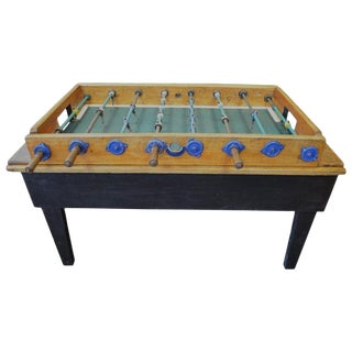 Foosball Game Sports Table From Italy on Handmade Wooden Base; Mid Century