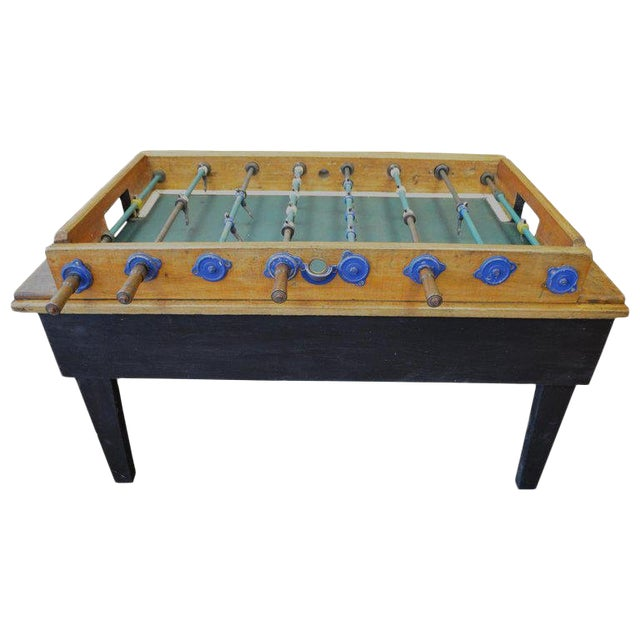 Foosball Game Sports Table From Italy on Handmade Wooden Base; Mid Century For Sale