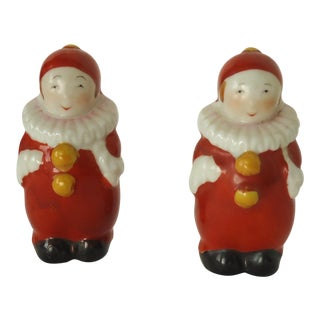 Art Deco Porcelain Clown Salt & Pepper Shakers - A Pair