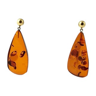 20th Century Modern Star Spangled Amber & Gold Drop Earrings - a Pair For Sale