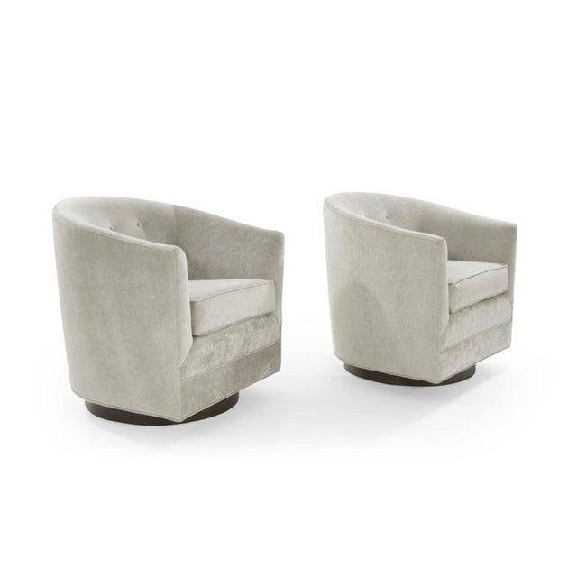 Strange Mid Century Modern Swivel Chairs In Taupe Velvet Creativecarmelina Interior Chair Design Creativecarmelinacom