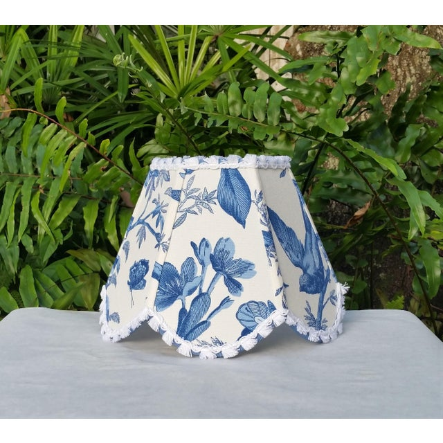 Textile Blue White Toile Floral Clip On Lamp Shade For Sale - Image 7 of 11