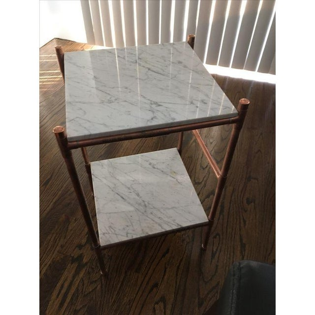 Handmade Copper & Marble Side Table - Image 6 of 6