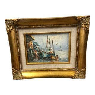 Vintage Mid Century Framed Impressionist Oil Painting - Nautical Seascape For Sale