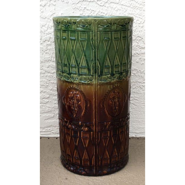 Arts & Crafts Antique Majolica Art Pottery Umbrella Stand For Sale - Image 3 of 9