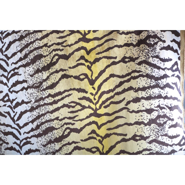 Asian Tiger Striped Velvet Fabric 1 Yard For Sale - Image 3 of 5