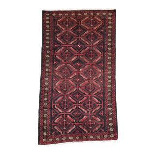 """1940s Vintage Balouchi Persian Rug - 2' 10"""" X 5' 1"""" For Sale"""