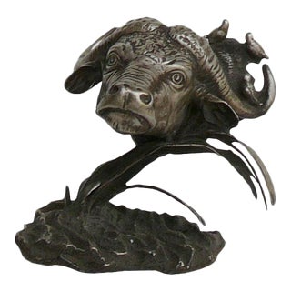 Handmade Chinese Silver Coating Ox Head Display Figure For Sale