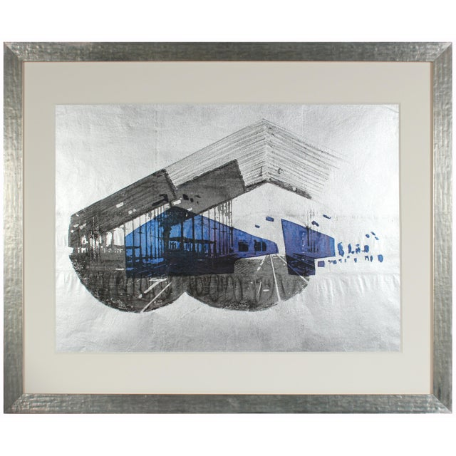 """Barbara Lewis 1970's """"Libson Station"""" Graphic Serigraph on Mettlic Paper For Sale - Image 4 of 4"""