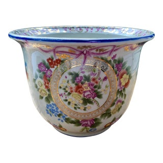 Floral and Swag Gilt Porcelain Cachepot Planter For Sale