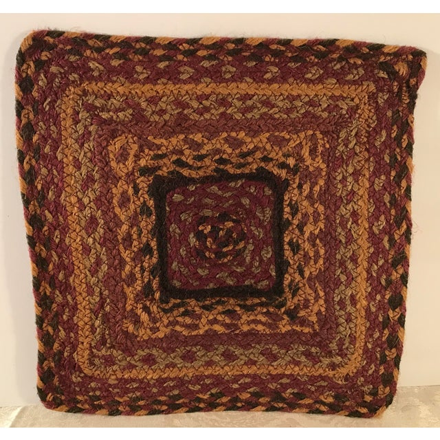 Nice colors on this square Jute table mat. Use under a Centerpiece! In the style of boho chic. Made in the late 20th century