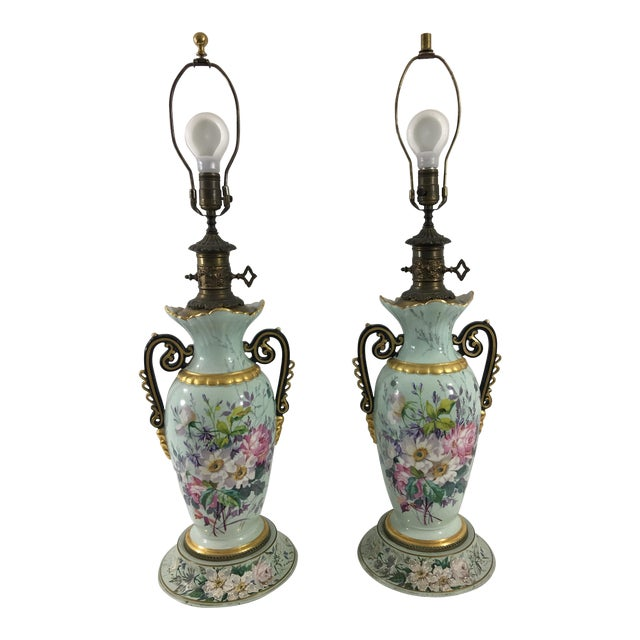 Old Paris Springtime Lamps With Hand-Painted Toile Base - a Pair For Sale